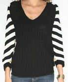 Black & White Stripes with Button Sleeves