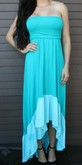 Teal Strapless Hi-Lo