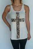 Studded Lace Cross Tank - White
