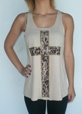 Studded Lace Cross - Tan