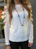 Cut Out Sleeve Sweater - White