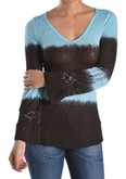Long sleeve tye dye top with bell sleeve and lace detail