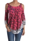Floral tye dye cold shoulder tunic in red