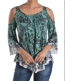 Floral tye dye cold shoulder tunic in green