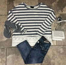 Striped Navy & Lace Top