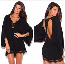 Black Crochet Cutout Dress